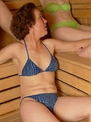 Mature ladies unwinding in an all female sauna