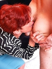Mature slut playing around with her younger lover