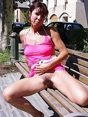 Shameless mature women flashing right in a town
